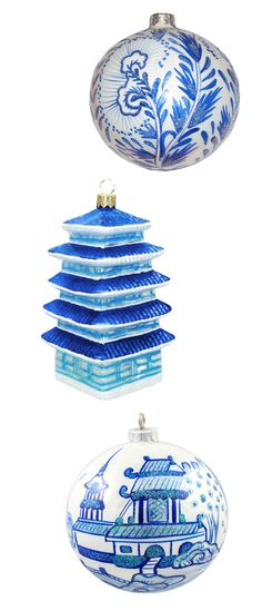 The Pink Pagoda: Blue and White Monday || Christmas- Chinoiserie ornaments!