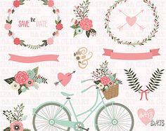 Guirnalda Floral invitación de la boda boda por MoonberryDigitalArt