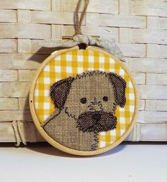 Border terrier hoop, hoop art,dog  applique, embroidery, free motion, gift by TheDogandtheMoon on Etsy