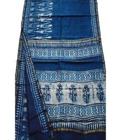 Blue Hand Block Printed Chanderi Silk Saree