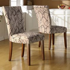 Tribecca Home Chocolate Swirl Print Accent Chairs (set Of 2)