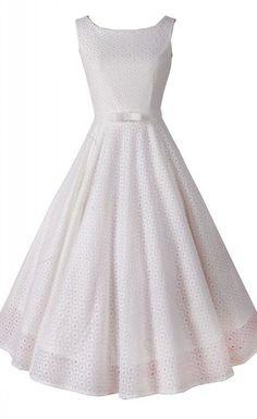 White Vintage Sleeveless Midi Dress