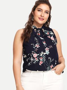 d661194901 Shop Plus Sleeveless Tied Neck Floral Blouse online. SheIn offers Plus  Sleeveless Tied Neck Floral