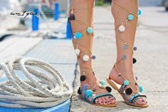 Gladiator tie up pom pom blue grey colored by Gladiator Sandals, Leather Sandals, Tied Up, Blue Grey, Greek, Trending Outfits, Unique Jewelry, Color, Vintage