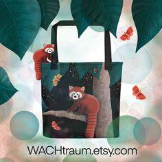 Tragetasche Roter Panda, Firefox, Schmetterling, Marienkäfer, Grösse ca. 38 x 38 cm von WACHtraum auf Etsy Clipart, Tote Bags, Illustration, Etsy, Products, Carry Bag, Spider, Handmade, Illustrations