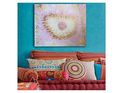 Heart ORIGINAL painting on canvas Abstract interior design
