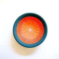Ceramic Small Orange and Blue Green Jewelry Bowl by lovebugkiko