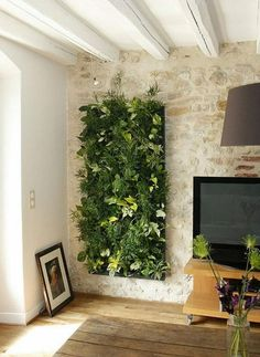 35 Ideas Decor Wall Stone Interior Design For 2019 Stone Wall Interior Design, Stone Walls Interior, Living Room Decor Green Walls, Green Living Room Decor, Interior Vertical Garden, Stone Interior, Interior Garden, Plant Decor, Interior Wall Design