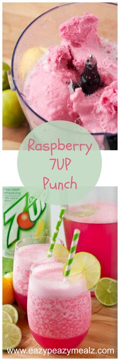 Raspberry 7 Up Punch: This easy to make punch is family friendly and perfect for a party! Eazy Peazy Mealz #MY7UPUPGRADE #contest #7UPupgrade