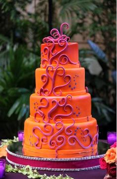 purple and orange wedding cake . orange into cream, purple into copper . very good cake design . Gorgeous Cakes, Pretty Cakes, Cute Cakes, Amazing Cakes, Orange And Pink Wedding, Purple Wedding Cakes, Orange Pink, Wedding Colors, Blue Green