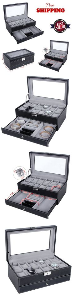 Watch 168164: Watch Box 12 Mens Organizer Jewelry Display Case Faux Leather Drawer Lock Black -> BUY IT NOW ONLY: $35.99 on eBay!