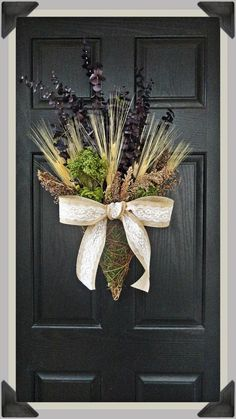 Natural Dried Wheat, Eucalyptus, and Wildflower Wicker Hanging Basket Wreath, Hanging Basket Wreath, Natural Dried Flower Door Wreath on Etsy, $55.00: