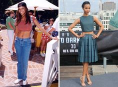 CROP TOP The itty-bitty belly-baring shirts epitomized '90s fashion, but the returning trend has taken on a more sophisticated tone, making a name for itself on the red carpet and even at award shows. Then: In 1997, Tyra Banks paired a striped crop top with light jeans and a backwards cap.