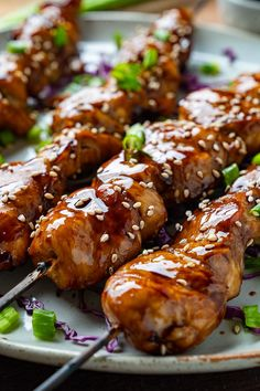 A Japanese style grilled skewered chicken in a sweet and salty sauce! Veggie Recipes, Asian Recipes, Beef Recipes, Chicken Recipes, Dinner Recipes, Cooking Recipes, Veggie Food, Veggie Side, Barbecue Recipes