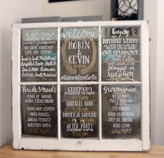 Wedding Window Program or Seating Chart - Custom Made, Repurposed Antique Window Sign, Handwritten Window, Bridal Party Window by SerifandScriptDesign on Etsy https://www.etsy.com/listing/276915414/wedding-window-program-or-seating-chart
