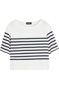 A.P.C Cropped striped cotton T-shirt #Refinery29