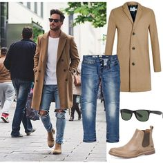 men's camel coat- get this look. by naomy-joanna on Polyvore featuring moda and River Island