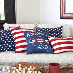 Display your patriotism all year long with this festive all-American flag throw pillow. Red and white stripes are horizontally featured on the back while blue stars take front and center on the flip s