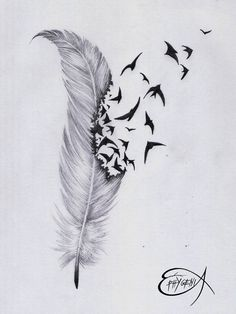 Amazing feather & birds tattoo design Repin & Follow my pins for a FOLLOWBACK!
