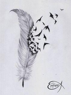 Amazing feather & birds tattoo design