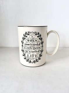 The London Mug by Victor Skellern for Wedgwood, Production for Liberty of London, Quote by Dr Samuel Johnson, Poem by Willian Wordsworth NIB
