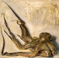 John Brosio - Octopus 15 x 15 1991 Oil on board