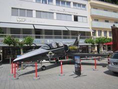 Jet aircraft on display in Vaduz, Liechtenstein...