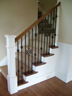 iron baluster stircase   Wood Staircases With Iron Balusters