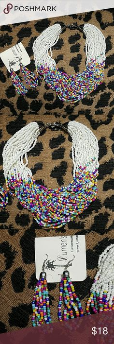 Lumen's Collection Jewelry Set New with tags. Multi color beaded necklace and earrings. Lumen's Collection Jewelry