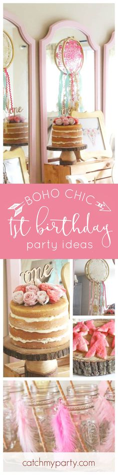 This Boho Chic 1st Birthday party is adorable! Loving the naked birthday with fresh flowers on top! See more party ideas and add yours to CatchMyParty.com