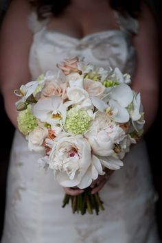 Blush Peony and Orchid Wedding Bouquet