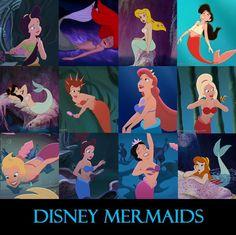 Adella, Ariel, Unnamed (Peter Pan), Melody, Unnamed (Peter Pan), Attina, Athena, Arista, Andrina, Aquata, Alana, Unnamed (Peter Pan)