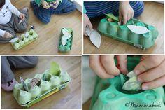 Mammabook: Una ghirlanda e un nido-gioco con il cartone delle uova - A wreath and a nest-game with egg boxes