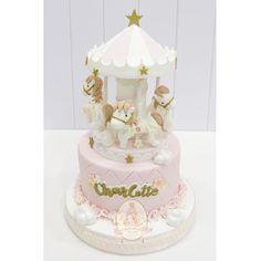 I like the top of the carousel Carousel Birthday Parties, 21st Birthday Cakes, Unicorn Birthday Parties, First Birthday Parties, Birthday Ideas, Baby Shower Parties, Baby Party, Carousel Cake, Baby Girl Cakes