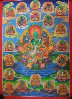 High Quality 21 Green Tara Tibetan Thangka  Size: 39/56 cm