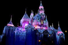 Sleeping Beauty's Castle at Christmas, Disneyland, LA. Photo by HarshLight