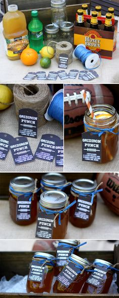 """Free printable """"Gridiron Punch"""" labels for downloading!"""