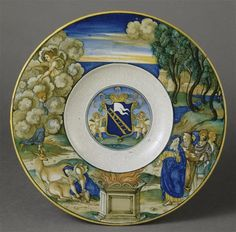 Musée d'Ecouen - Assiette: Le sacrifice d'Iphigénie avec les armes de la famille Calini. NICOLA DA URBINO (dit) actif entre 1520 et 1537/1538. E.CL.1863. Vers 1525 URBINO (origine)
