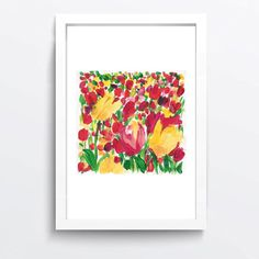 Tulips field Study Art Print of acrylic painting by TheJoyofColor