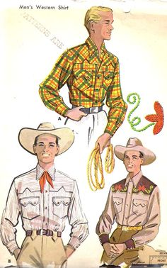 """1950s Men's Singing Cowboy Western Shirt and Transfer Vintage sewing Pattern, McCall's 1925 Neck Size 15-15 1/2"""" uncut"""