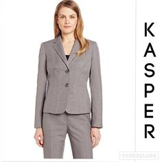 "KASPER SUIT PEARLGREY 14P SeeMeasurements NEED TO MAKE A POSITIVE FIRST IMPRESSION FOR AN INTERVIEW OR MEETING? This suit is what you need! Sz 14P.Suit is in pristine condition,recently dry-cleaned. No rips,tears,stains or buttons missing.Stock photo used in order to see details better.Long sleeves with buttoned cuffs/Seam in front & back/faux front pockets/shoulder pads/Polyester/Dry clean/lined. Jacket Bust 42""/Waist 38""/Hips 42""/Length 24""/Sleeves 24"" & Kate Classic Fit Pants Waist…"