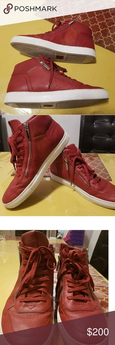 HUGO BOSS HI-TOP LEATHER SNEAKERS. Eye-catching Red color. Designer leather sneakers. Good condition. Leather upper Leather textile lining. SIZE IS 44 I post  pic with measurements. Hugo Boss Shoes Athletic Shoes