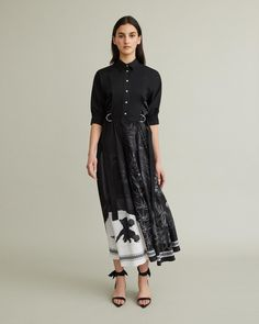 Bib-front shirt dress with half sleeves, d-ring belt details and linear classical Greek print. D Ring Belt, Retail Concepts, Point Collar, Cool Suits, Apothecary, Half Sleeves, Designing Women, Printing On Fabric