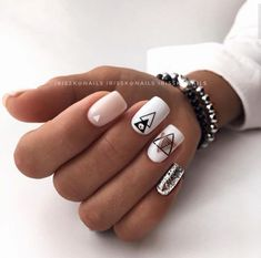 nails - Manicure from @ irisska nails Blagoveshchensk nail nails manicure naildesign nailideas nailart designtool ideide White And Silver Nails, Silver Nail Art, Silver Hair, Short Square Nails, Short Nails, Perfect Nails, Gorgeous Nails, Stylish Nails, Trendy Nails