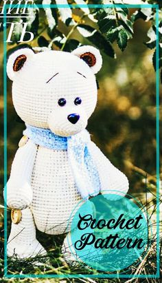 Crochet Teddy Bear Pattern Free, Teddy Bear Patterns Free, Crochet Bear, Crochet Patterns Amigurumi, Amigurumi Doll, Free Crochet, Free Pattern, Crochet Animals, Crochet Toys