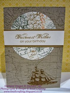 I started by stamping the World Map on Crumb Cake card stock, then dabbed various colour stamp pads on the same stamp and stamped that on Ve...