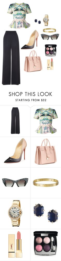 """Untitled #47"" by hessa-46 ❤ liked on Polyvore featuring Whistles, Mary Katrantzou, Christian Louboutin, Yves Saint Laurent, Miu Miu, Cartier, Kendra Scott and Chanel"