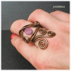 Adjustable copper wire ring with amethyst by JOINHAS on Etsy