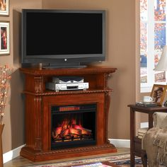Corinth 23 in. Cabinet Corner Electric Fireplace Media Console in Vintage Cherry - Electric Fireplace Media Center, Corner Electric Fireplace, Electric Fireplaces, Fireplace Media Console, Home Fireplace, Faux Fireplace, Fireplace Ideas, Fireplace Mantels, Corner Tv Stands