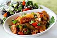 Spicy Vegan Sausage Jambalaya by Parsley In My Teeth #vegan #vegetarian
